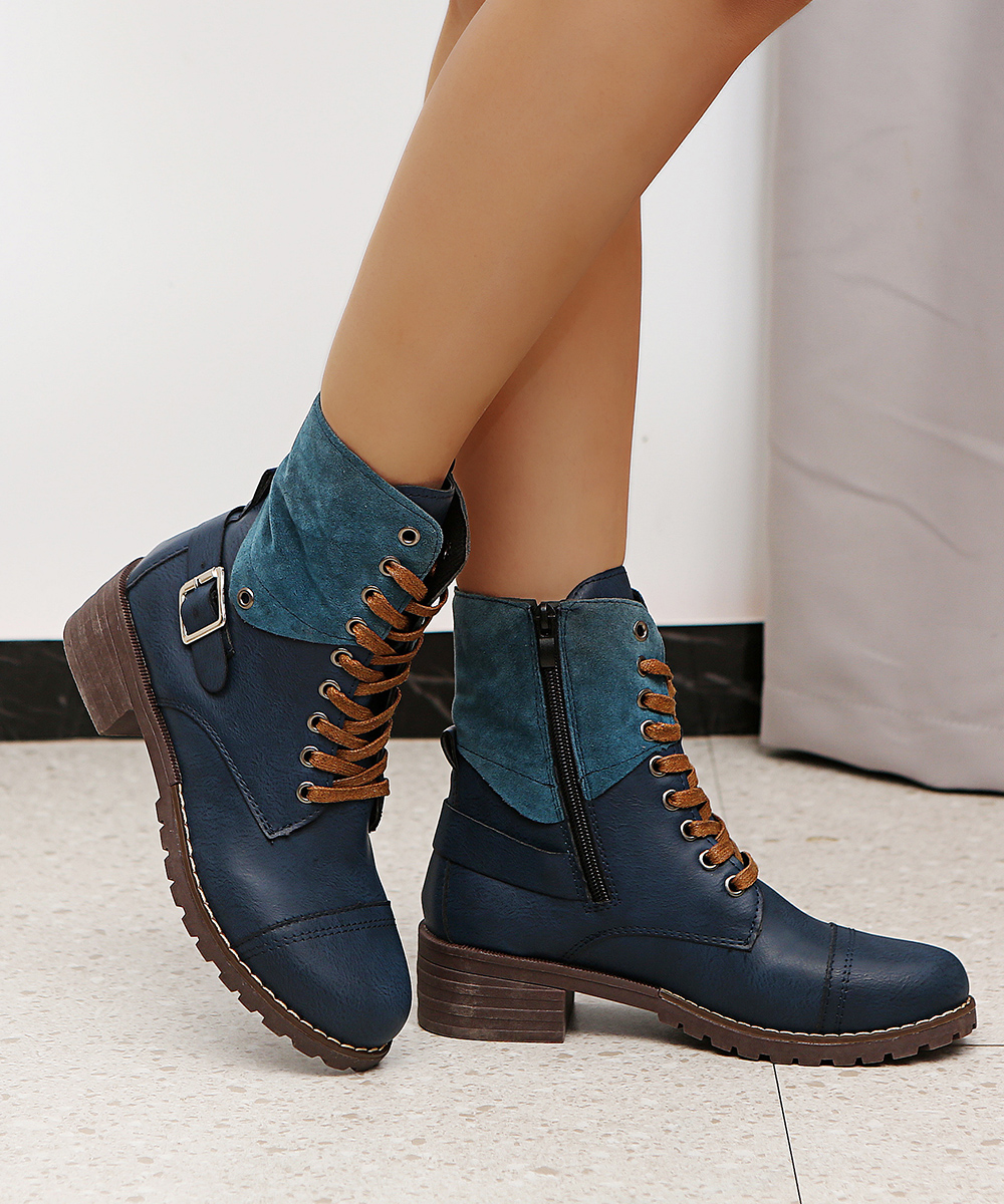 British Style Fashion Zipper Flat Shoes Woman Boot High Heel Platform PU Leather Boots Lace Up Women Shoes Botas Mujer Girls 1