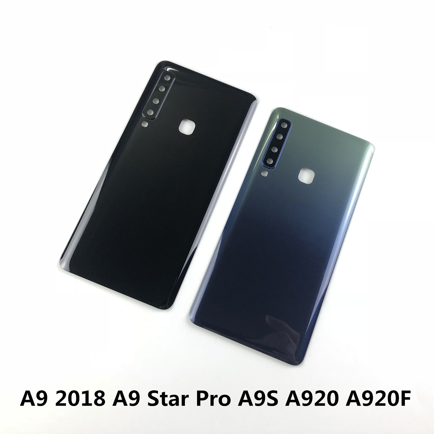 For Samsung Galaxy A9 2018 A9 Star Pro A9S A920 A920F Battery Cover Rear Door Back Glass Housing+Camera Lens Cover+Sticker Glue