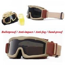 цена на Tactical Goggles Hunting Shooting Ballistic Military Glasses Airsoft Paintball Anti-fog Outdoor Sport Glasses 3 Lens