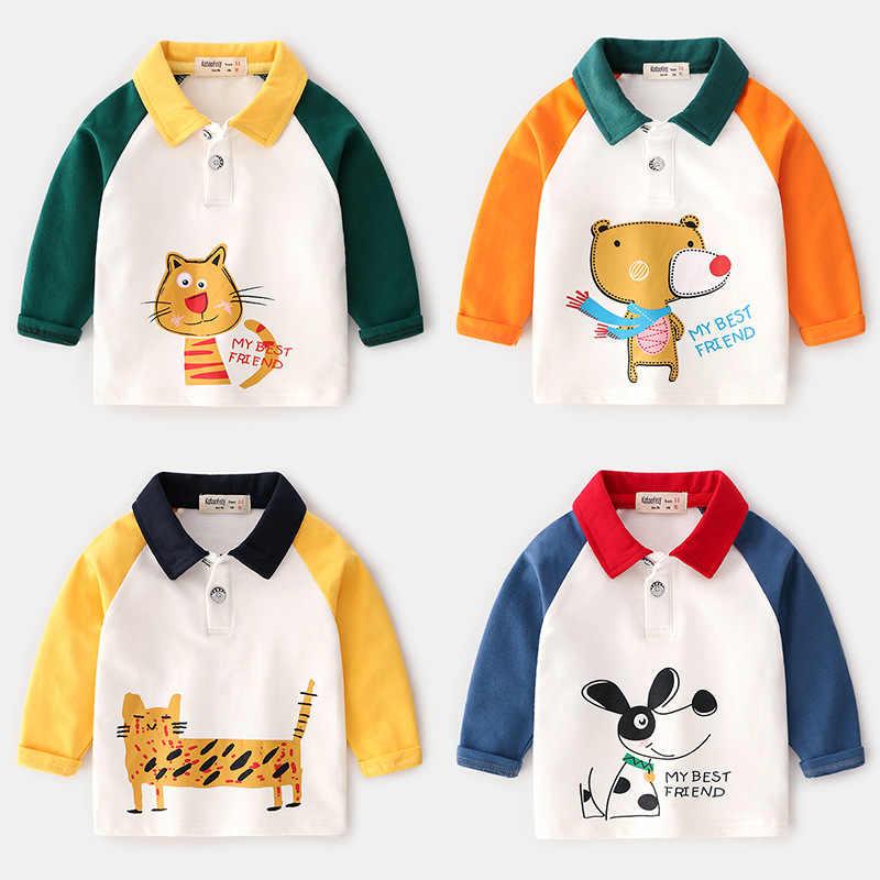Autumn&Winter New Kids Polo Shirt Long Sleeve Boys Polo Shirts Cartoon Animals Cotton Kids Tops Baby Shirt For Kids 2-7year
