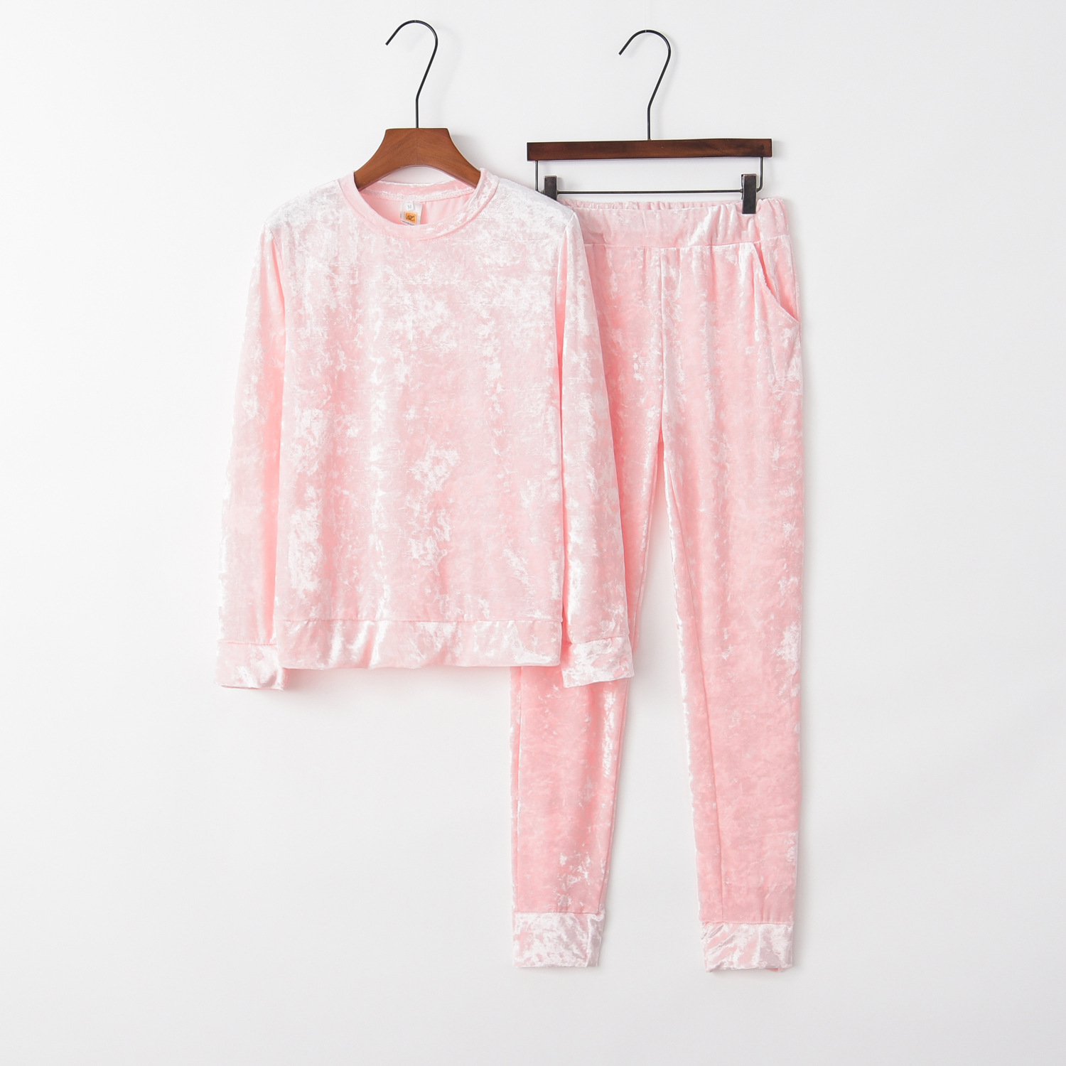 Solid Pink 2020 New Design Fashion Hot Sale Suit Set Women Tracksuit Two-piece Style Outfit Sweatshirt Sport Wear