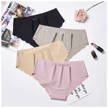 MS sexy ice silk low waist large size wave ladies panties one-piece high elastic feeling tights womens underwear