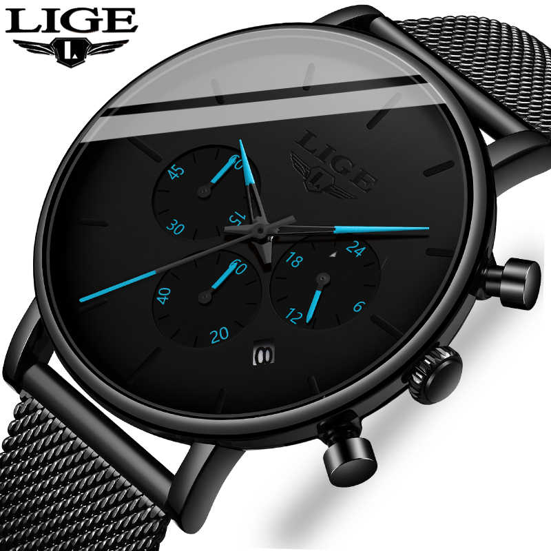 New 2019 LIGE Fashion Mens Watches Top Brand Luxury Black Quartz Watch For Men Military Waterproof Thin Clock Relogio Masculino