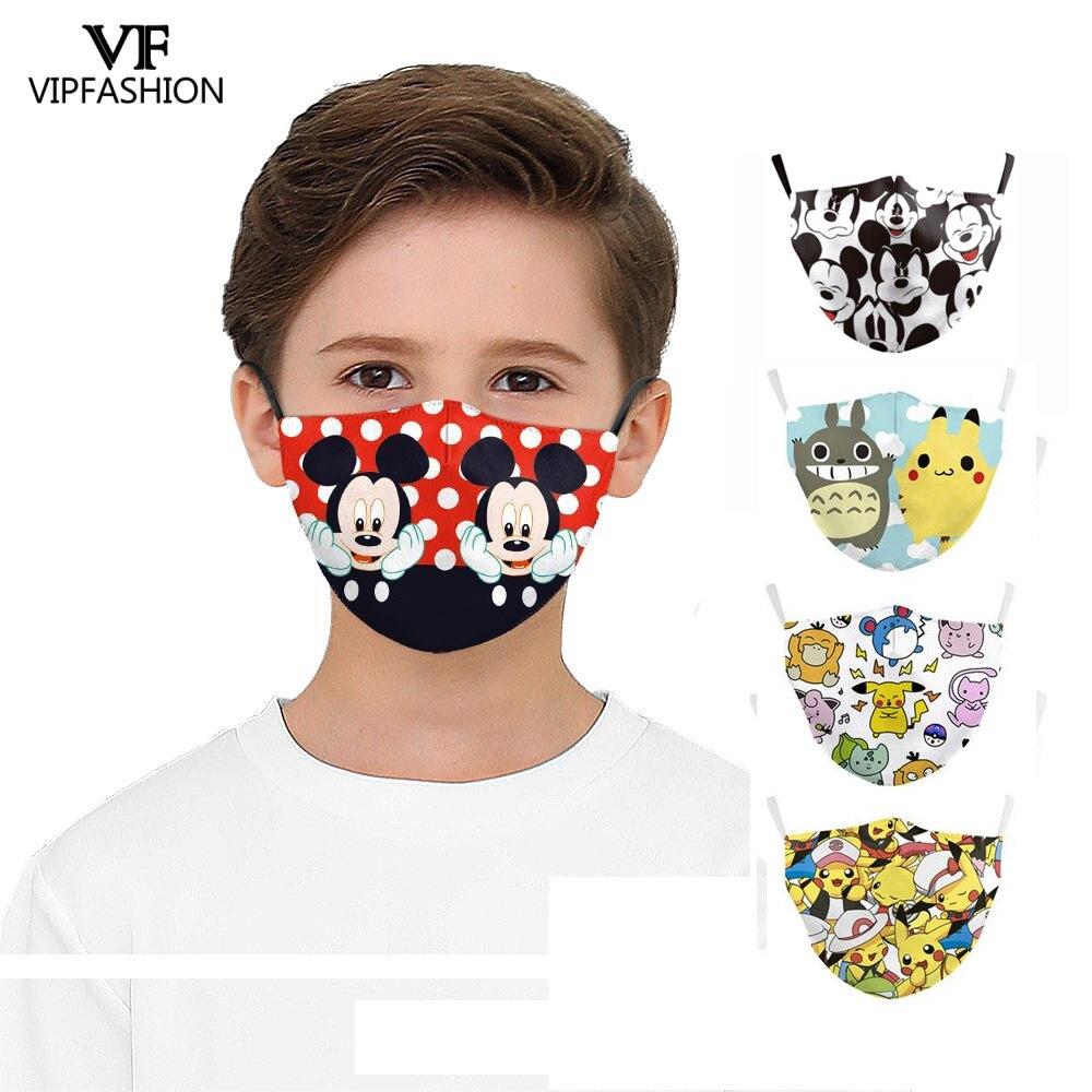 VIP FASHION Reusable Kids Funny Cute Cartoon Face Mask Totoro Anime Print Washable Fabric Mask Anti-pollution Mouth-muffle