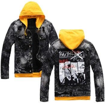 Chaquetas de mezclilla rasgadas a la moda MORUANCLE con capucha extraíble para hombre, chaqueta vaquera desgastada para camionero, ropa de abrigo con piedra lavada