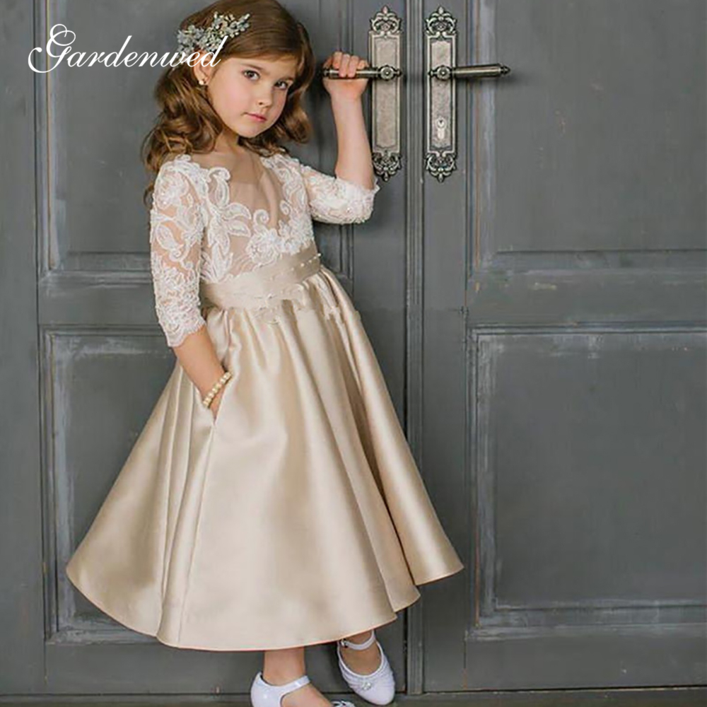 Champagne Princess Flower Girl Dresses Beaded Lace Appliques Satin Communion Dresses Sleeves A-Line Girls Wedding Party Dress