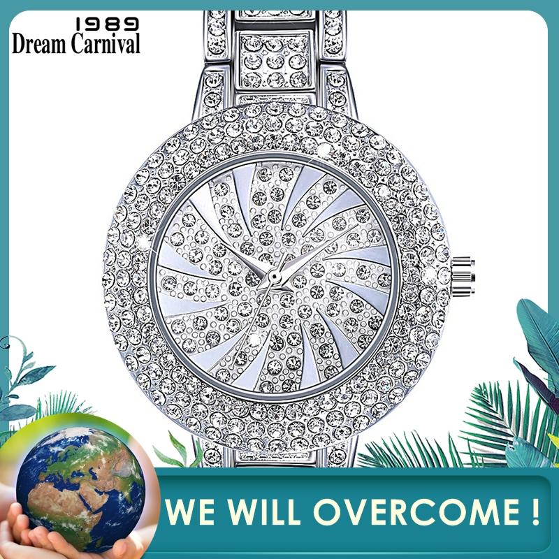 DreamCarnival 1989 New Arrived Classic Crystal Watch For Women Luxury Stone Dial Rhodium Gold Colors Must Have Timepiece A8356B