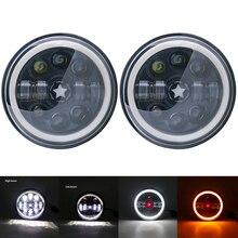 1ชุดรถไฟหน้า7นิ้ว LED H4 Amber Angel Eyes หลอดไฟสำหรับรถจี๊ป CJ JK TJ Wrangler off Road 4X4รถอุปกรณ์เสริม