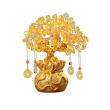 Chinese Crystal Lucky Money Fortune Tree Wealth Home Office Decoration Ornament Figurines Best Gifts