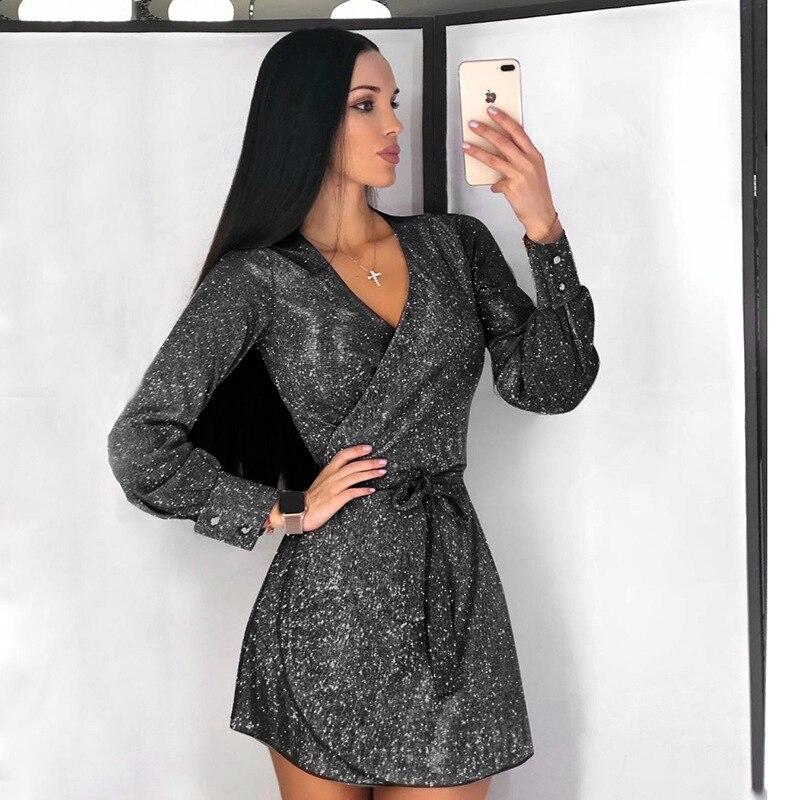 Tolook Shining Bandage Glitter Dress Sexy Elegant Mini Dresses 2019 Long Sleeve Autumn Winter Women Party Outfits