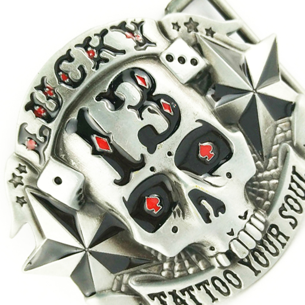 Lucky 13 Star Skull Skeleton Belt Buckle Cowboy Punk Tattoo Your Soul Cool Boucle De Ceinture  Belt Buckle PU Belt Replacement