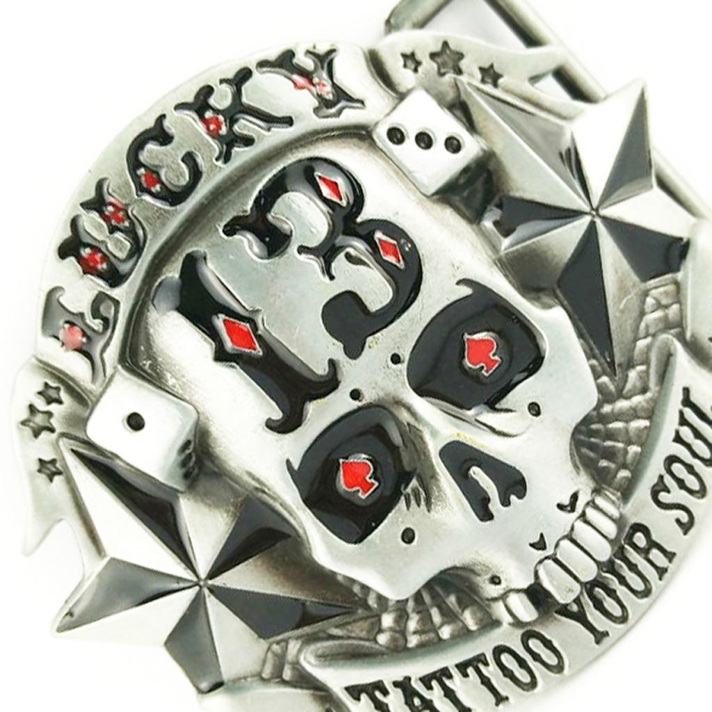 Lucky 13 Star Skull Skeleton Belt Buckle Cowboy Punk Tattoo Your Soul Cool Boucle De Ceinture  Belt Buckle PU Belt Replacement