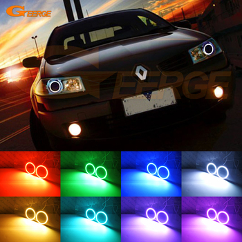 RF remote Bluetooth APP Multi-Color Ultra bright RGB LED Angel Eyes kit For RENAULT MEGANE 2 II 2006 2007 2008 2009 Facelift excellent ultra bright cob led angel eyes kit halo ring for renault megane 2 ii 2006 2007 2008 2009 facelift headlight