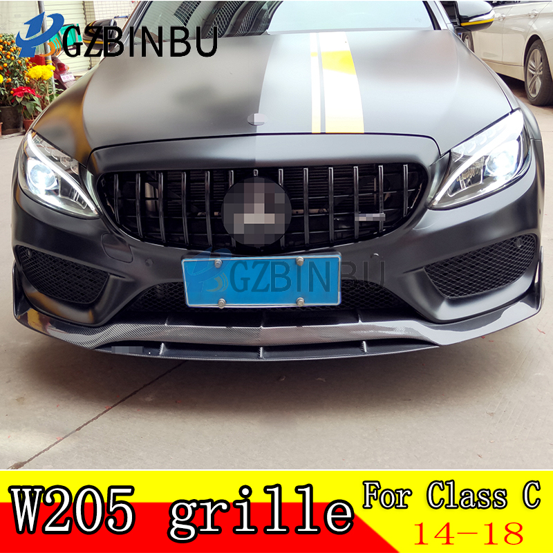 Diamond Style W205 Car Front Grill Grille Mesh For <font><b>Mercedes</b></font> For Benz C Class W205 C200 C250 <font><b>C300</b></font> C350 2015-18 GT Without Camera image