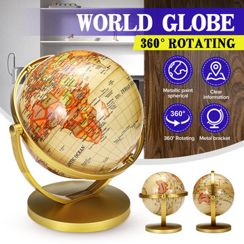 Mapa globus obracana podkładka mapa świata globus szkoła geografia edukacyjne dla dzieci odkrywanie wystroju domu tanie i dobre opinie KICUTE CN (pochodzenie) World Globe Map With Stand
