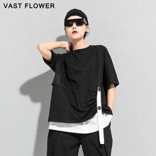 Black Irregular Patchwork Ribbon Plus Size T-Shirt Women New O-Neck Short Sleeve Loose Casual Tshirt Fashion Spring Summer 2021