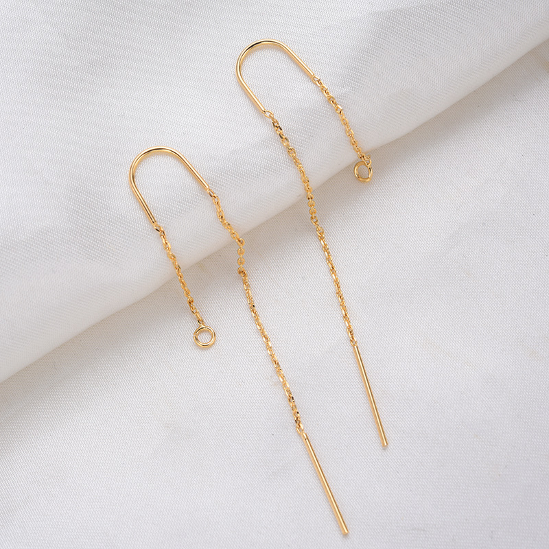 6PCS 66MM 24K Gold Color Plated Chain Stud Earring Line Jewerly Making Diy Jewelry Findings Accessories