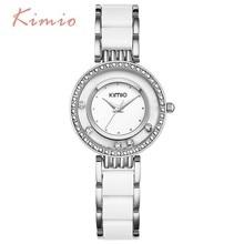 цена на KIMIO Luxury Brand Designer Ladies Watch Women Pearl Scale Bracelet Stainless Steel Crystal Diamond Quartz-watch Clock Women