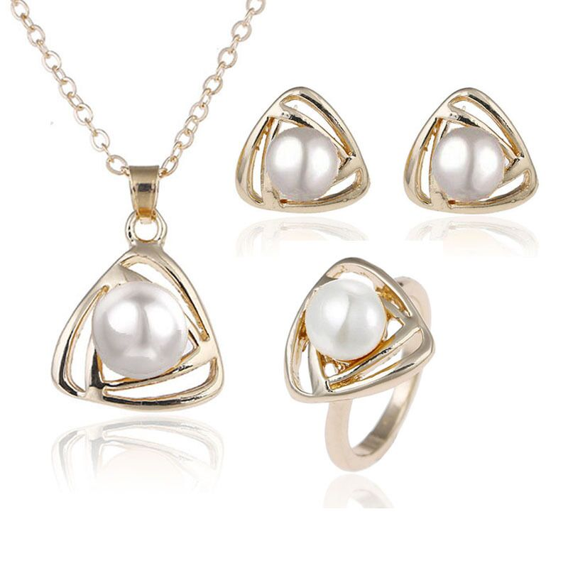 Fine Pearl Jewelry Set 100% Natural Freshwater 925 Sterling Silver Jewelry Pearl Necklace Earrings Ring Women's Gifts s033