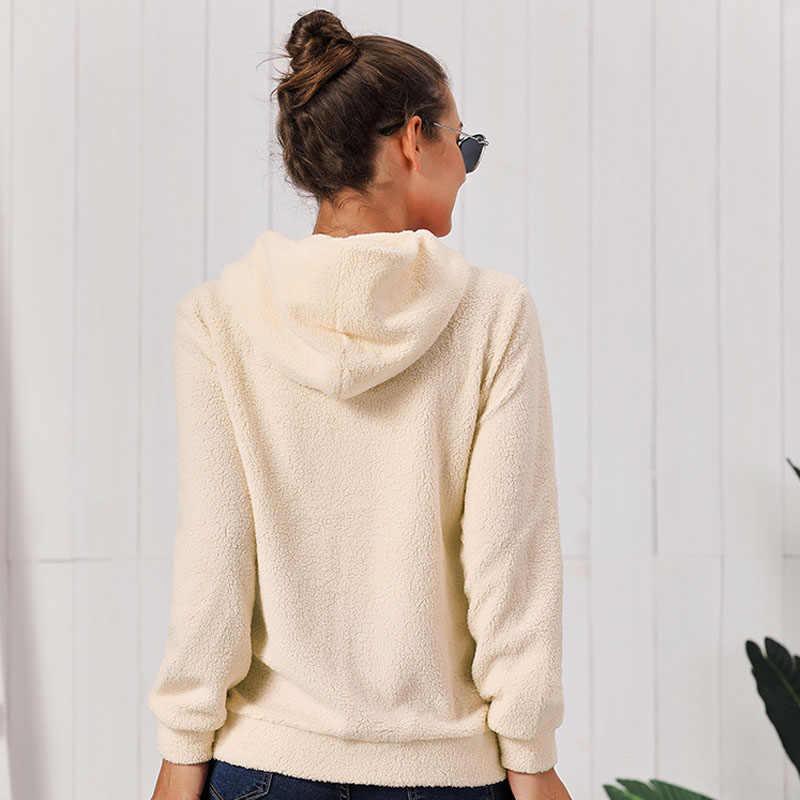 2020 冬の女性パーカー暖かい長袖フリースジャケット作物はジップアップパンク生き抜くコートポケット大サイズショートコート