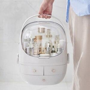 Image 1 - JULYS SONG Caja de almacenaje para maquillaje, organizador de cosméticos portátil, contenedor de maquillaje grande, estuche de almacenamiento para baño, de escritorio