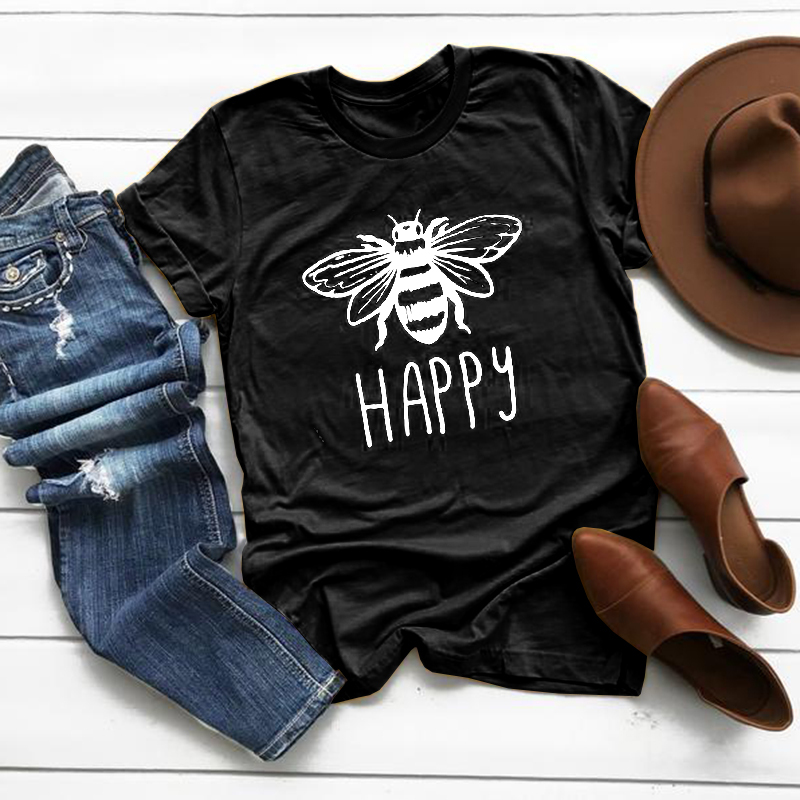 2020 Happy Bee Kawaii Cartoon Short Sleeve T-shirt Women Casual Animals Tops Female Tee Summer Cute Women T-shirts Tops Clothes