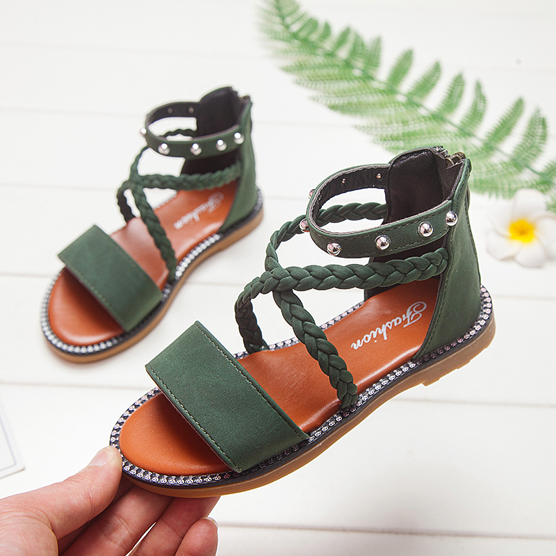 Kid Shoes Leather Girls Shoes Kids Summer Baby Girls Sandals Shoes Skidproof Toddlers Infant Children Kids Shoes Beige Summer Sa