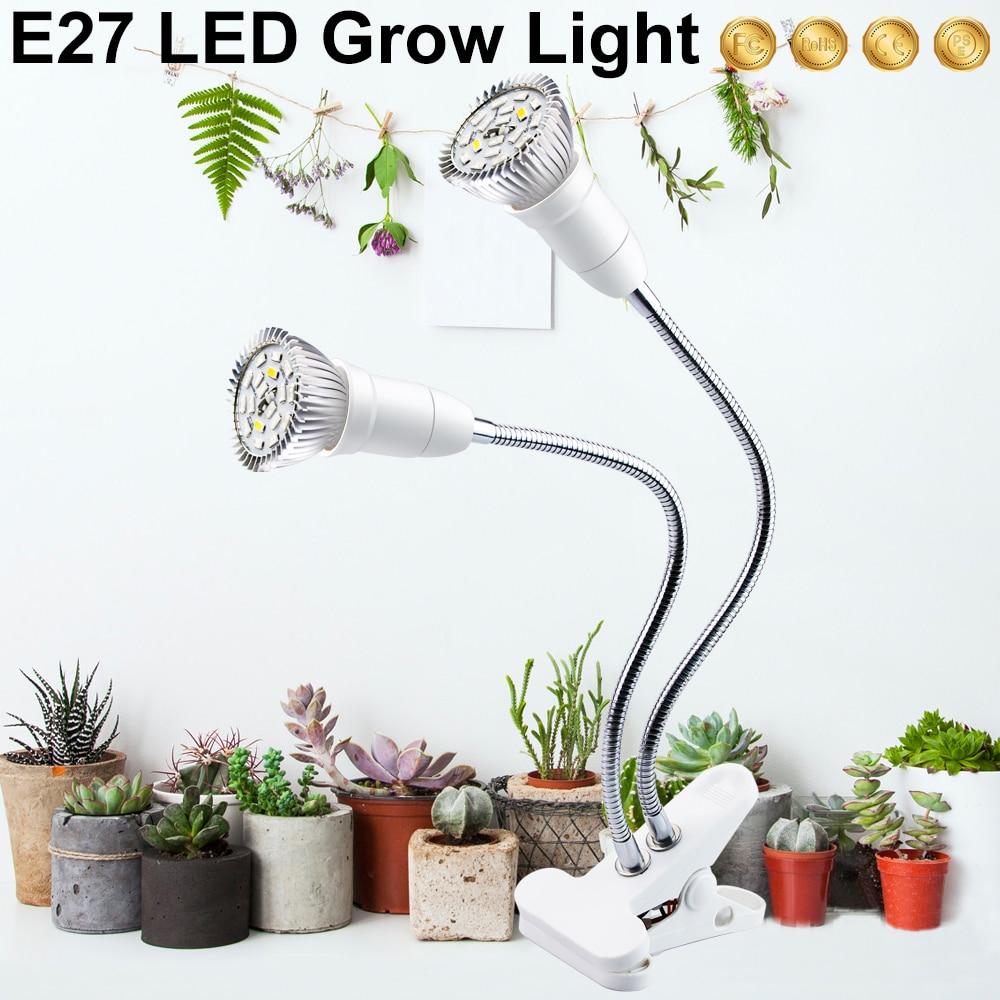 Светодиодная лампа для выращивания растений E27 Fitolampy, полный спектр, фито-лампа с зажимом для растений, саженцев, цветов