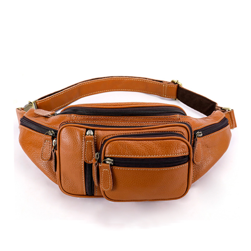 MAHEU 100% Genuine Leather Men Women Fanny Pack Sports Running Waist Bag For Phone Wallets Outside Walking Bags Crossbody Sling