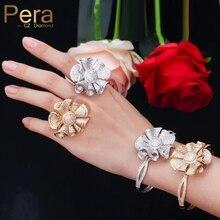 Pera 럭셔리 옐로우 골드 컬러 전체 Shinning 큐빅 지르코니아 큰 꽃 모양 팔찌와 반지 여성 약혼 파티 쥬얼리 Z031
