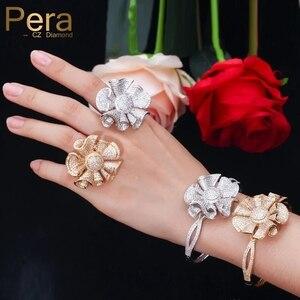 Image 1 - Pera יוקרה צהוב זהב צבע מלא Shinning מעוקב Zirconia גדול פרח צורת צמיד וטבעת נשים אירוסין מסיבת תכשיטי Z031