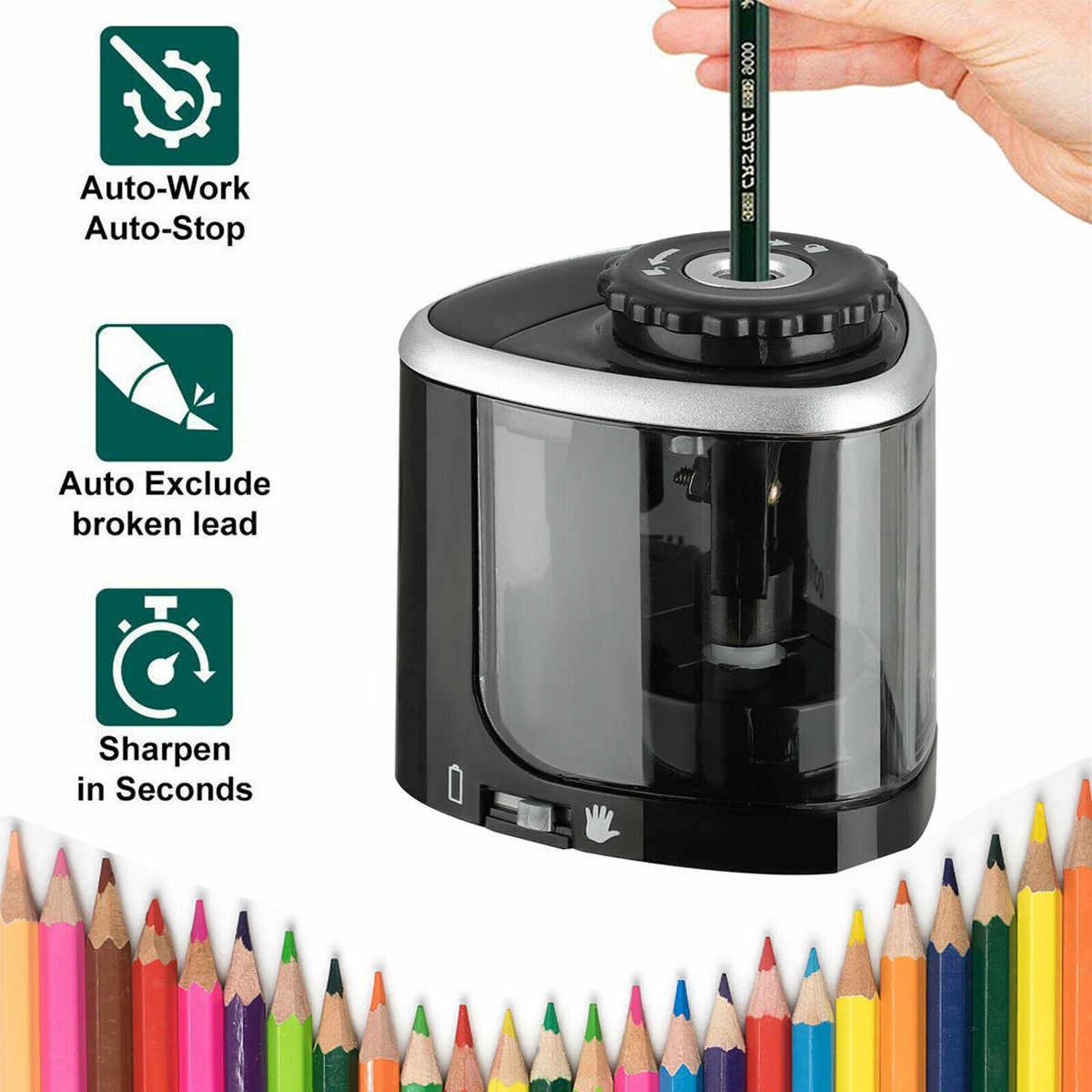 חדש 1PCS חשמלי אוטומטי עיפרון מחדד בטוח תלמיד סליל פלדת להב מחדד עבור אמנים ילדים מבוגרים עפרונות צבעוניים