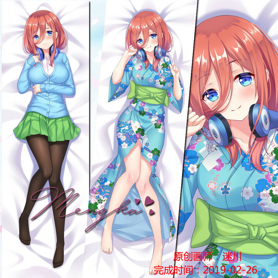<font><b>Anime</b></font> 5-toubun no hanayome nakano miku <font><b>Dakimakura</b></font> Hug Body Pillow Case <font><b>150</b></font>*<font><b>50</b></font> cm Cosplay Gifts image