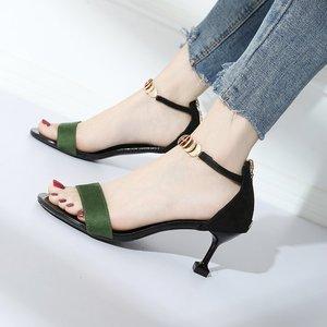 2019 новые сандалии; женская летняя замшевая пляжная обувь с открытым носком; женские дышащие легкие модные сандалии на каблуке из винного ст...