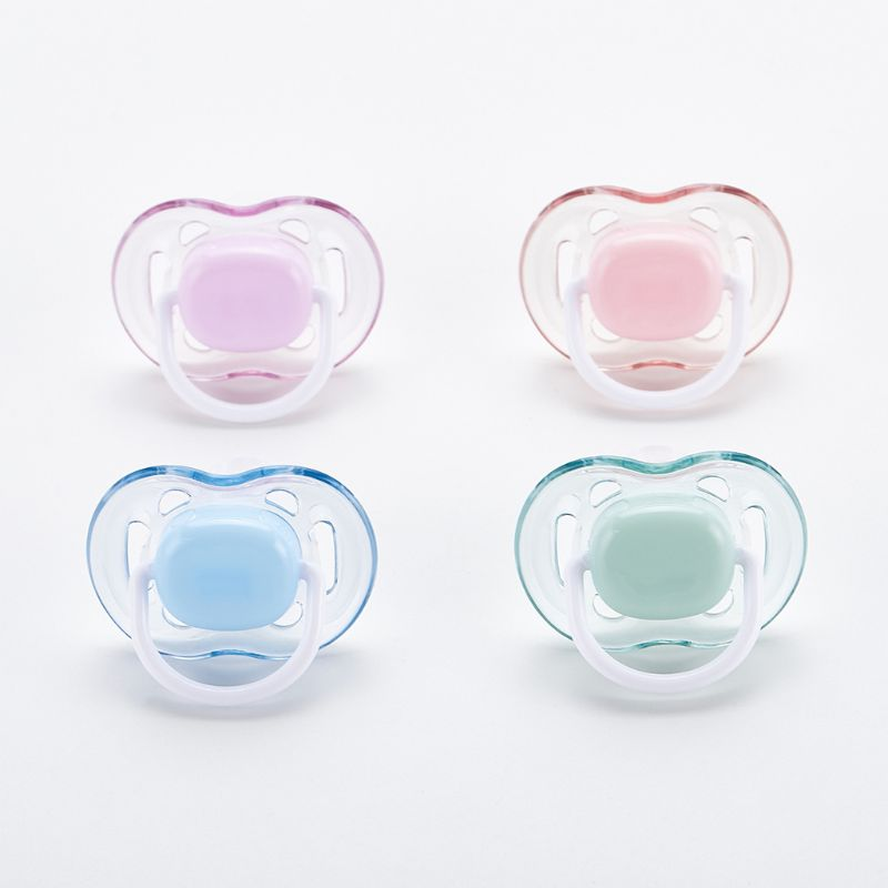 Baby Silicone Pacifier Soothing Infants Bite Chew Supplies Newborn Comfort Appease Nipple Flat Teat Pacifiers