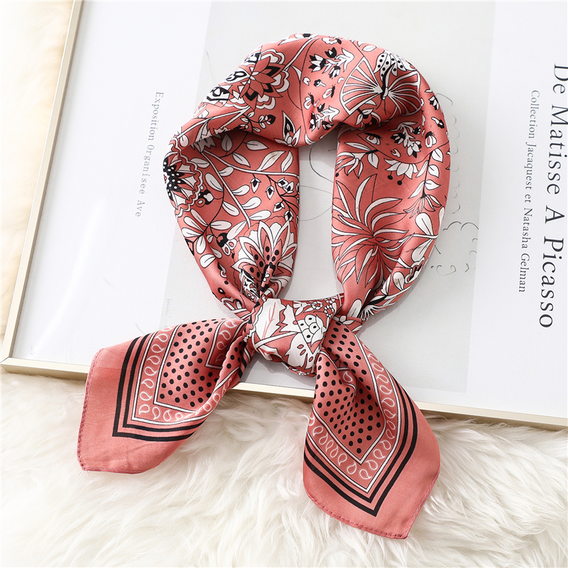 2020 Fashion Floral Women Silk Scarf Foulard Office Lady Neck Scarves Hair Accessories Female Elegant Hand Kerchief Band