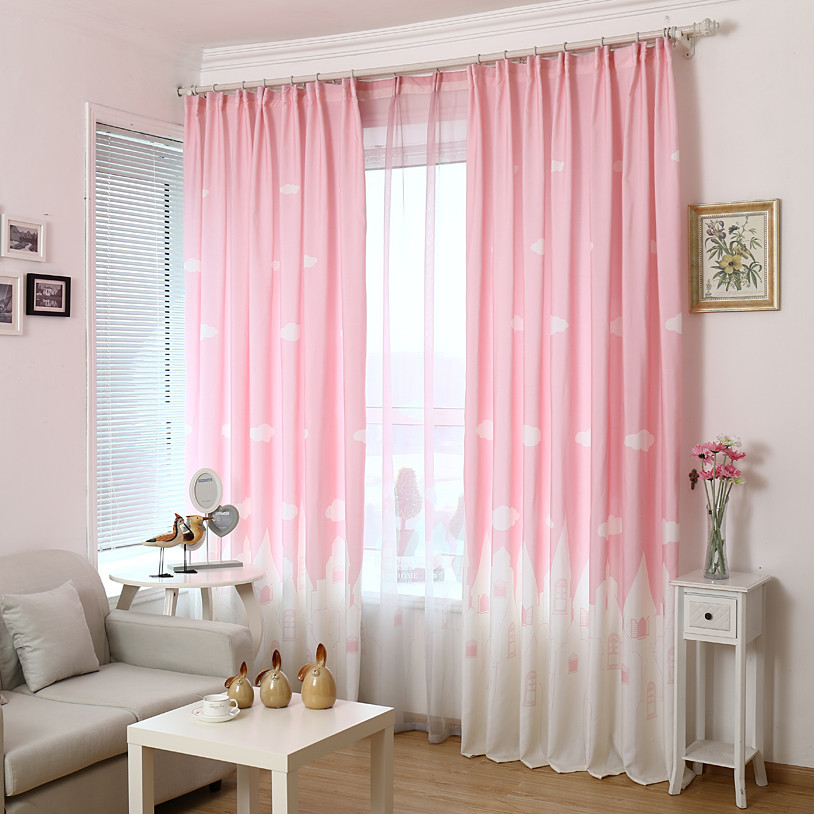 Pink Cloud Curtain Bedroom Kids Children Princess Cartoon Delicate Nursery Window Treatments Voile Curtain Cotinas 126&30