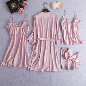 Image 2 - ורוד נשים סקסי 4PCS חלוק חליפת האביב חדש רופף קימונו חלוק שמלת Loose מקרית הכלה שושבינה חתונה הלבשת כתונת לילה