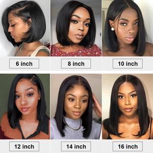 Image 4 - 2x6 Short Bob Wig Pre Plucked Lace Closure Wig Brazilian Straight Virgin Human Hair Wig 180% Density 10~14 Inch