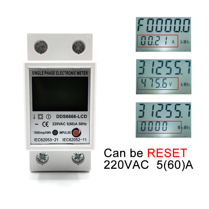 Din Rail Digital LCD Single Phase electric Energy Meter kWh Power Consumption Meter Wattmeter Electronic AC 220V 60A Reset Zero