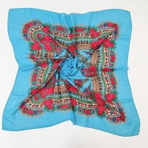 Image 5 - Foulard ethnique imprimé, couvre chef musulman russe, bandeau Floral, cajou, anti poussière, 70cm X 70cm