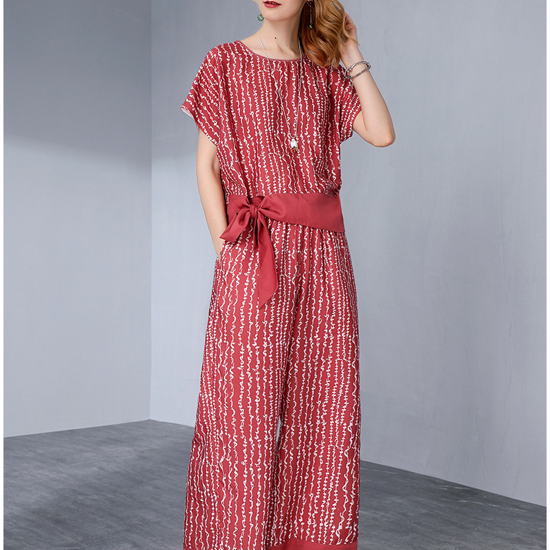 Vacation Style Fang Can Si Two-Piece 2019 Summer New Style Tops Wide-Leg Capri Pants Printed-Style Set