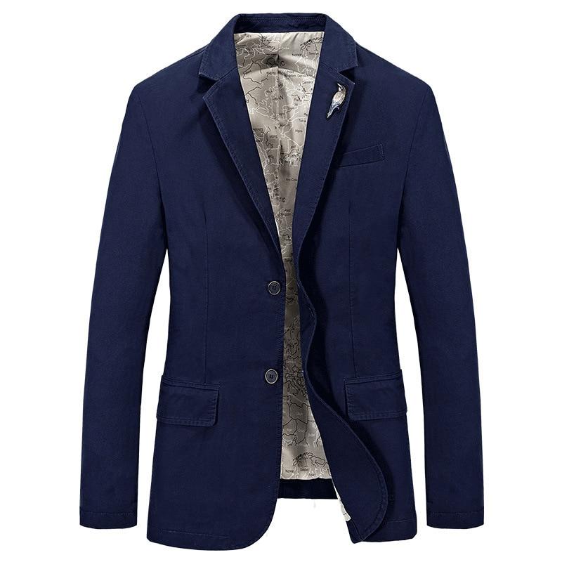 Brand Suits Jackets Men Spring Autumn Fashion Cotton Washed Formal Office Men Blazer Masculino Costume Homme Plus Size S-4XL