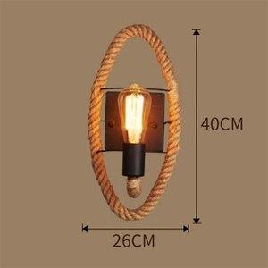 Image 5 - קנבוס חבל לופט סגנון מנורת קיר בציר ברזל תעשייתי המיטה אור רטרו גופי לבית ותאורה בר קפה סלון e27