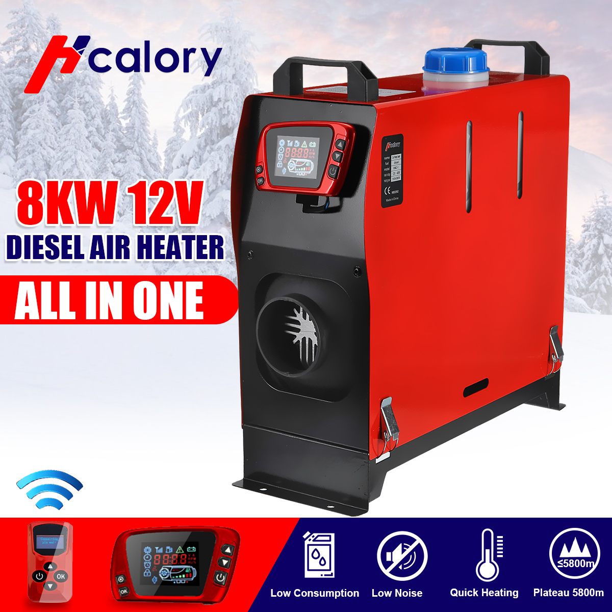 All in One Unit 8KW 12V Car Heating Tool Diesel Air Heater Single Hole LCD Monitor Parking Warmer For Car Truck Bus Boat RV(China)