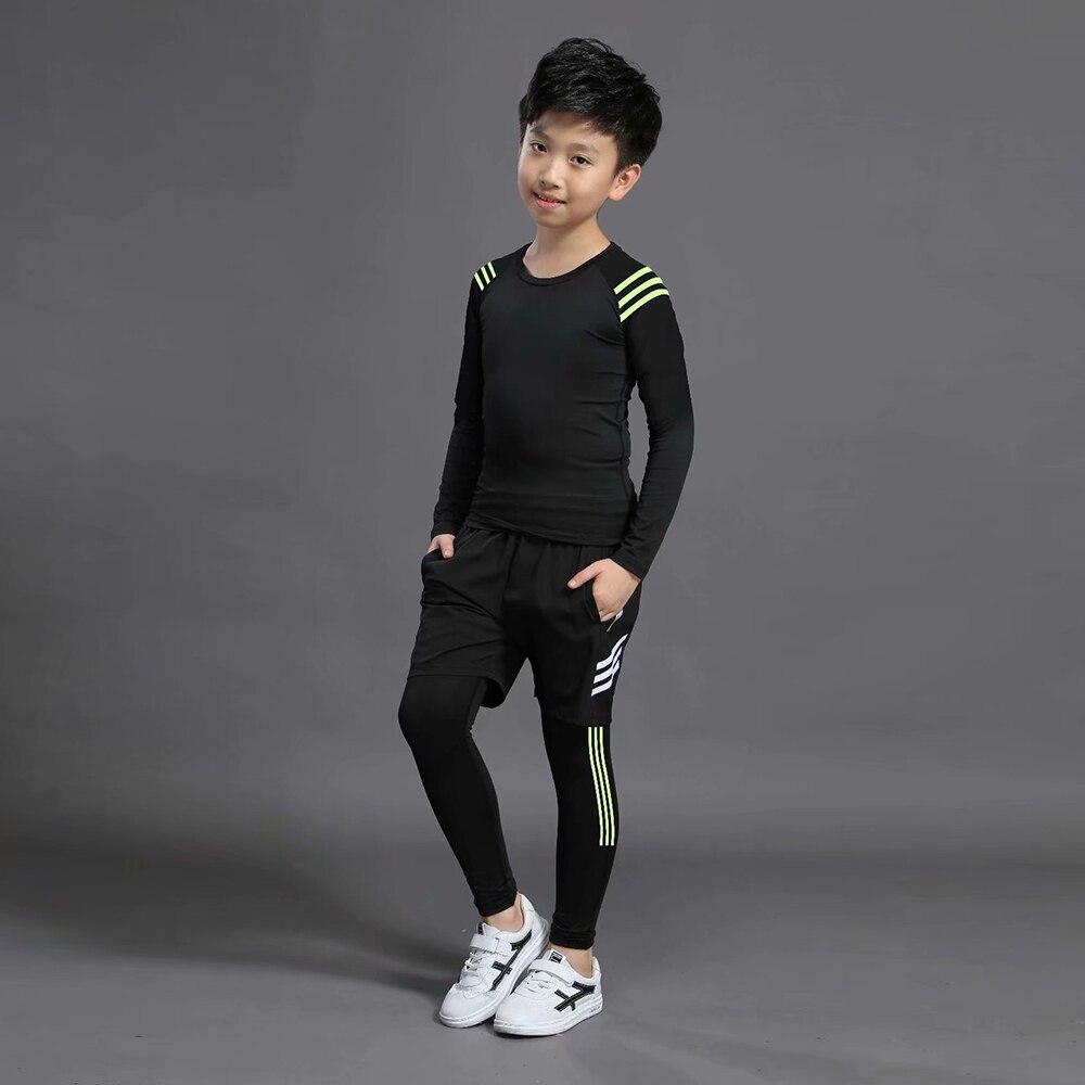 Kids Boxing Compression Set Jersey + Pants Kids Running Basketball T-shirts Tight Teenage Pants Sportswear MMA Rashguard