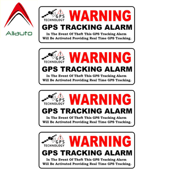 Aliauto 4 X Reflective Car Stickers Warning Gps Tracking Alarm Accessories PVC Decal for Golf 5 Kia Ceed Seat Ibiza Gt,10cm*3cm image
