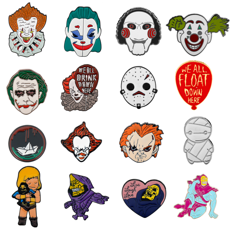 Horror Mask Brooch Enamel pin He-Man/She-ra/Stephen King's It/Saw /Seed of Chucky/Clown Joker Badages Brooches pins Skull pin(China)