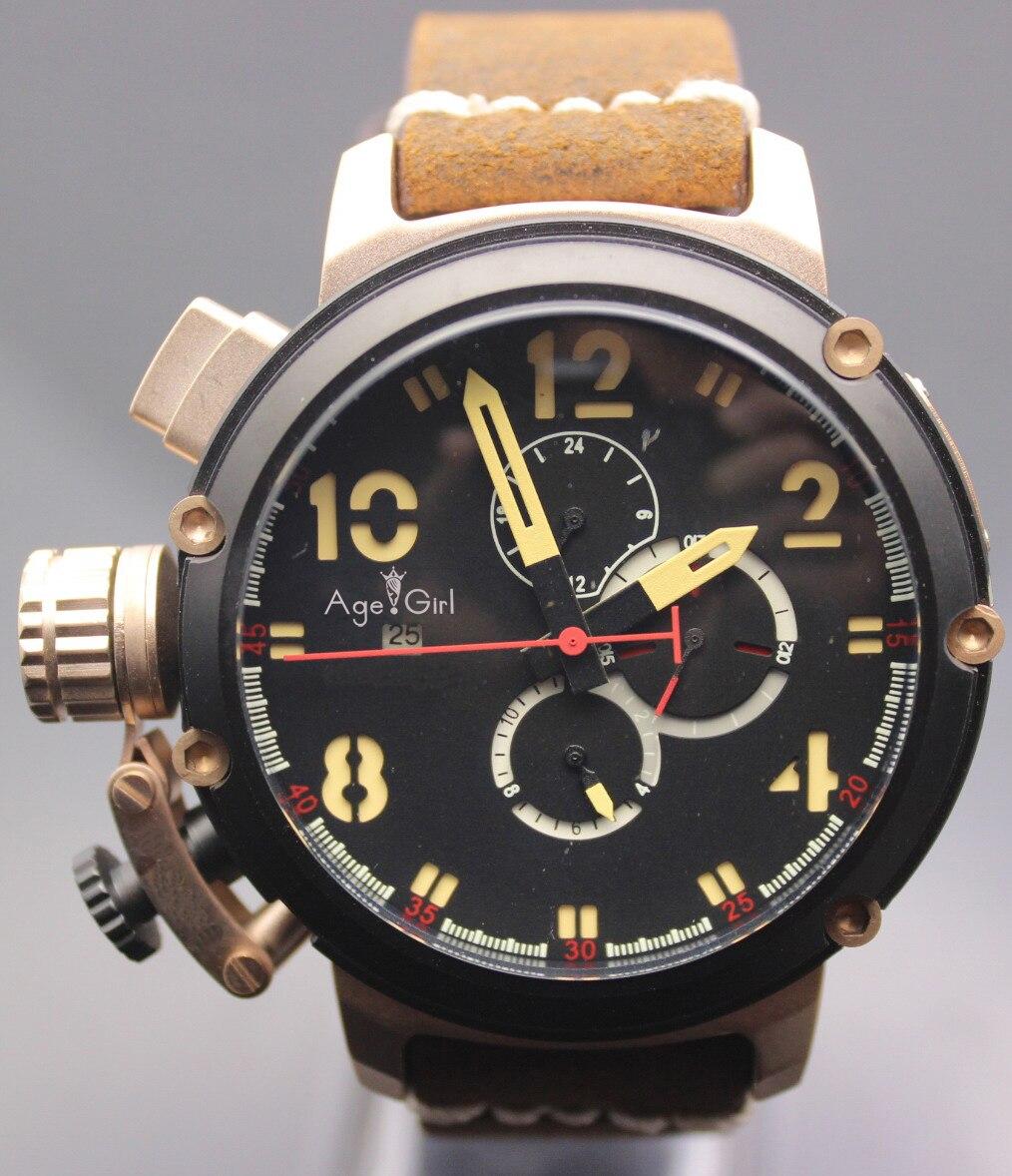 Flambant neuf automatique mécanique hommes U chronomètre U1001 montre U-51 Chimera argent vieilli marron cuir de vache bateau montre noir or