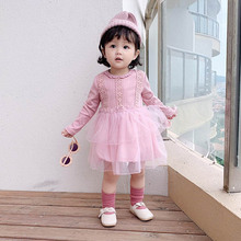 New Autumn 0-3T Casual Baby Girls Clothes Lovely Toddler Dress Floral Pattern Long Sleeve Patchwork Mesh Dress Kids Sundress #m